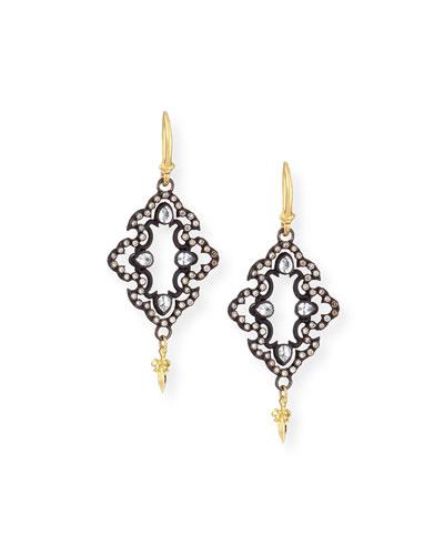 Open Scroll Diamond Drop Earrings