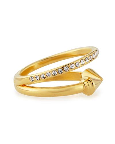 Ultra Mini Titan Plain and Crystal Ring, Yellow Golden