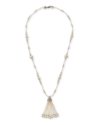 Long Simulated Pearl Tassel Necklace