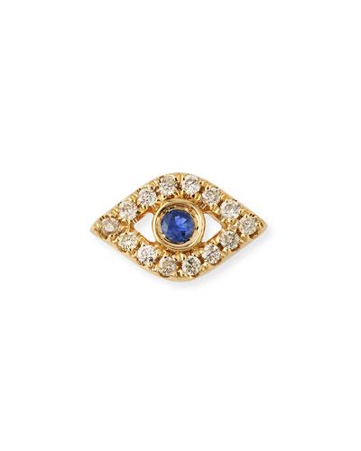 14k Diamond Mini Evil Eye Single Stud Earring