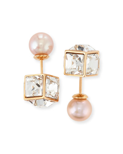 Double Cubo Gemma Pearl Earrings