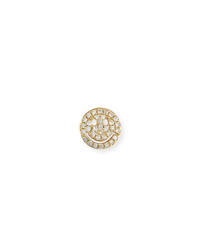 14k Pavé Diamond Happy Face Single Stud Earring