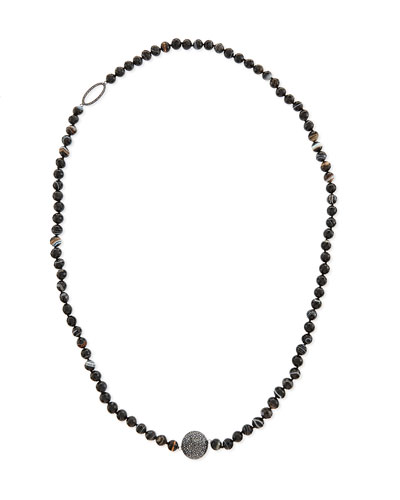 Long Faceted Black Line Agate Necklace, 40
