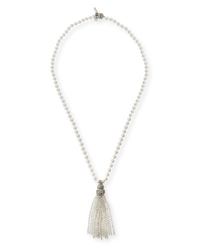 Pearly and Crystal Tassel Necklace