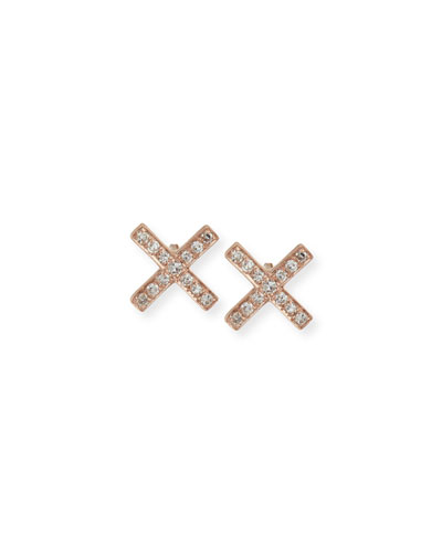 Diamond X Stud Earrings