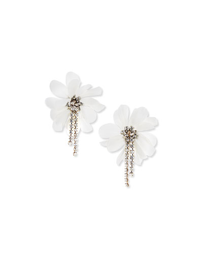 Flower and Crystal Chain Clip Earrings, Ivory