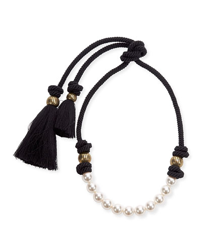 Short Pearly Necklace with Tassel Ends, 17.3