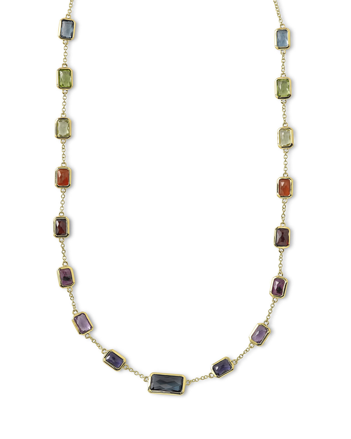 18k Rock Candy Fall Rainbow Chain Necklace, 18