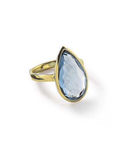18k Rock Candy Single Medium Teardrop Ring in Rutilated Quartz
