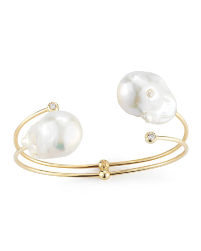 Double-Pearl & Diamond Cuff Bracelet