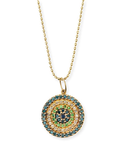 Concentric Eye Diamond & Sapphire Necklace