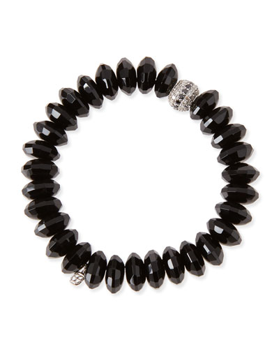 12mm Faceted Black Agate Beaded Bracelet w/ 14k White Gold Diamond Disc