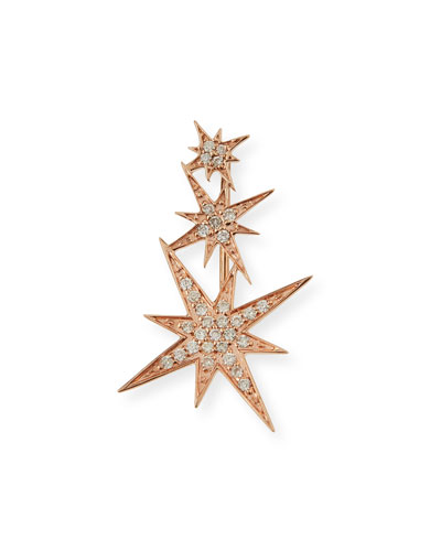 14K Rose Gold Triple Diamond Starburst Ear Climber Earring