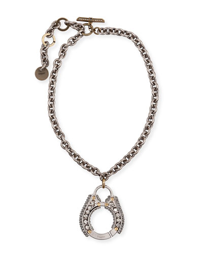 Chain Crystal Pendant Necklace