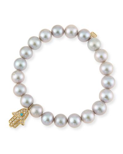 Gray Pearl Bracelet w/ 14K Yellow Gold Hamsa Charm