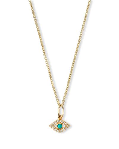 Small Turquoise Cabochon Evil Eye Pendant Necklace w/Diamonds
