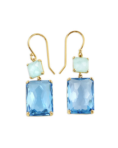 18K Gold Rock Candy Rectangle Snowman Earrings in Amazonite/Swiss Topaz