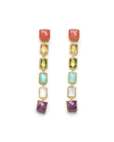18K Rock Candy Extra-Long 6-Stone Earrings in Summer Rainbow