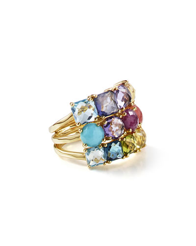 18K Rock Candy Mixed-Stone Cluster Ring in Summer Rainbow, Size 7