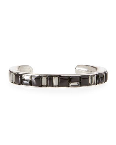 Geometric Crystal Cuff Bracelet, Black