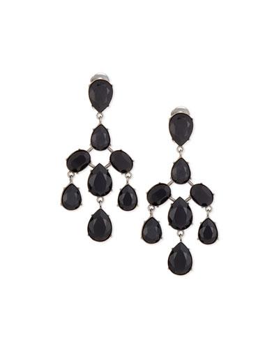 Floating Crystal Chandelier Earrings, Jet