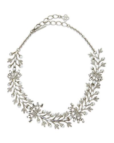 Crystal Baguette Leaf Necklace