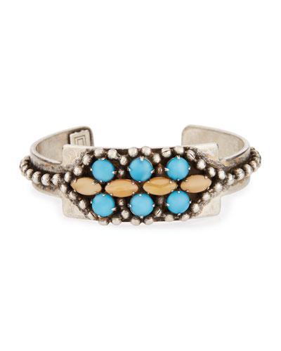 Gigi Oxidized Silver Cuff Bracelet, Turquoise/Nude
