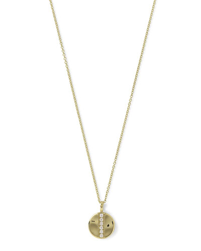 18K Glamazon Mini Disc Pendant Necklace with Diamonds