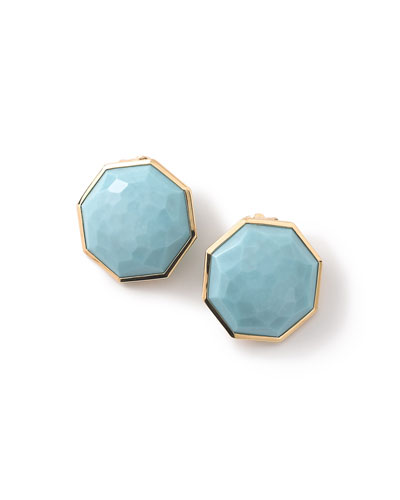 18K Rock Candy Turquoise Clip-On Button Earrings