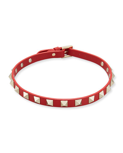 Leather Rockstud Choker Necklace