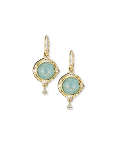 Old World Midnight Turquoise & Quartz Doublet Earrings with Diamonds