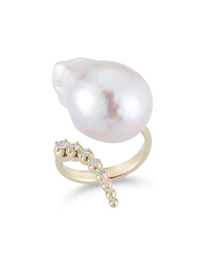14K Curved Diamond & Pearl Ring