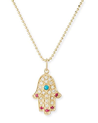 14K Hamsa Pendant Necklace with Turquoise, Diamonds & Rubies