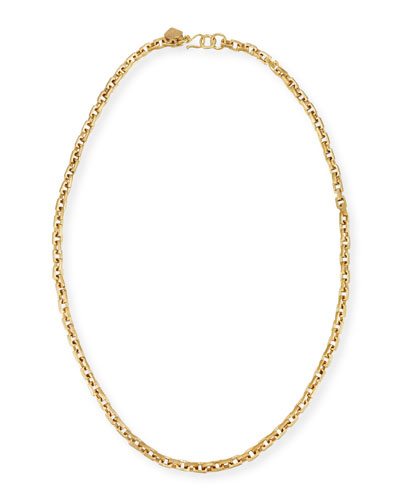 Hisia Long Hammered Bronze Link Necklace, 40