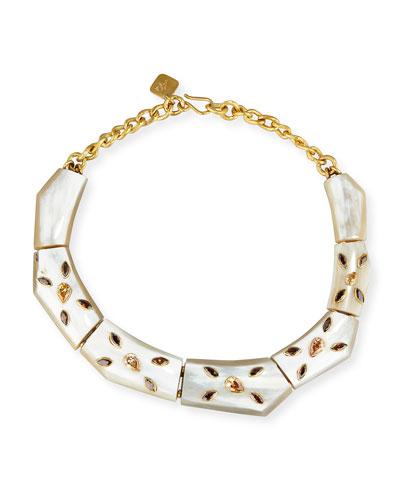 Malkia Light Horn & Crystal Collar Necklace