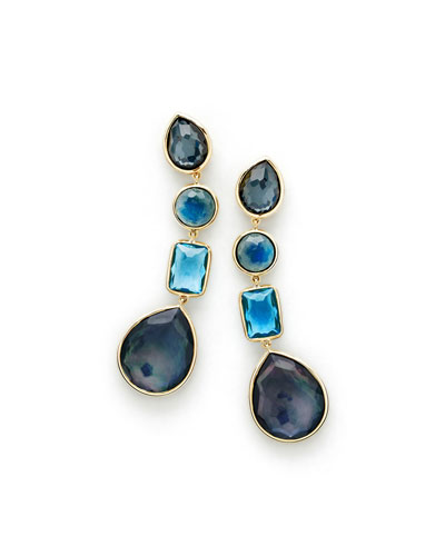 18K Rock Candy Linear Four-Drop Earrings in Midnight Rain