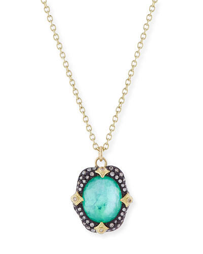 Old World Midnight Oval Crivelli Necklace with Diamonds