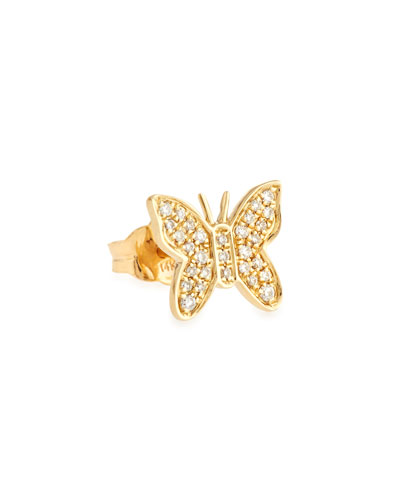 Mini Butterfly Stud Earring with Diamonds