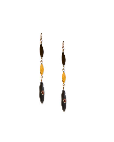 Tarabu Linear Dark Horn & Bronze Drop Earrings