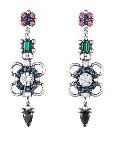 Ellyn Crystal Statement Earrings, Multi