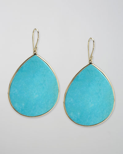 Turquoise Teardrop Earrings, Large