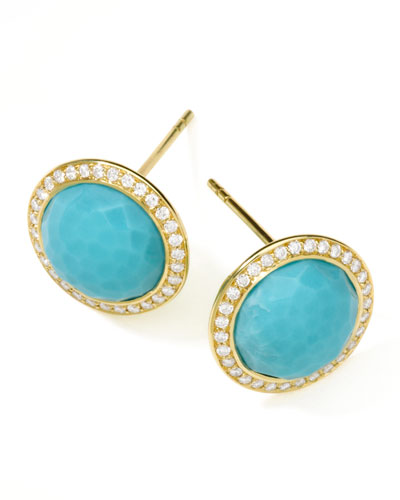 18K Rock Candy Button Earrings with Diamonds