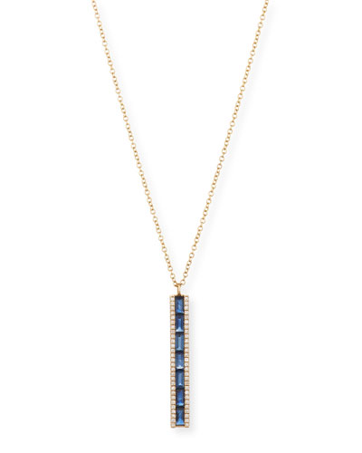 14K Diamond & Blue Sapphire Bar Pendant Necklace
