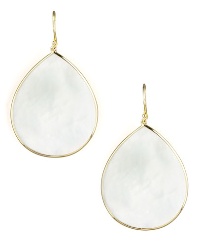 18k Giant Teardrop Slice Earrings in Mother-of-Pearl