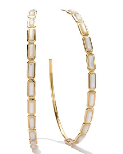 18k Gold Rock Candy Gelato Rectangular Hoop Earrings, Mother-of-Pearl
