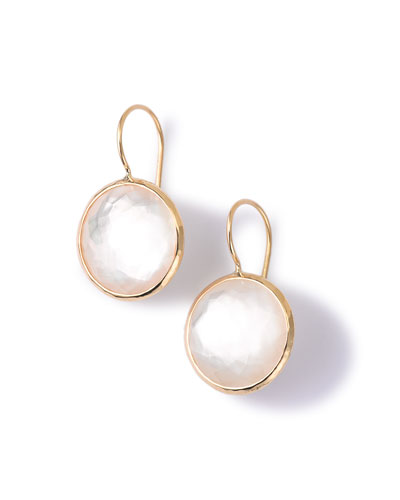 18k Gold Lollipop Drop Earrings in Mother-of-Pearl Doublet