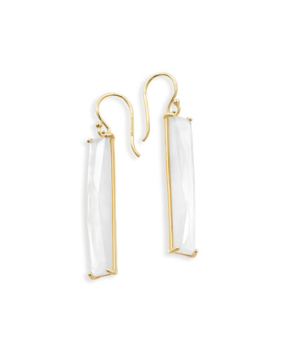 18K Polished Rock Candy Mother-of-Pearl Drop Earrings, White