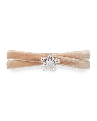 Monarch Mini Velvet Choker Necklace with Crystal Starburst, Blush