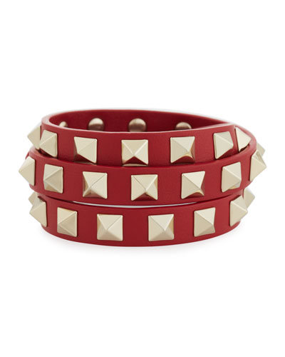 Triple-Wrap Leather Bracelet, Red