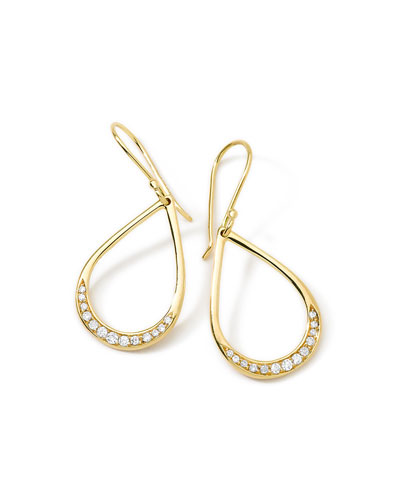18K Gold Stardust Mini Elliptical Teardrop Earrings with Diamonds